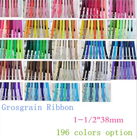 """top popular 15% off 2015 NEW 1-1 2"""" 38mm Solid Colors Grosgrain Ribbon for DIY hair accessories Craft Sewing Party gift Packaging,200 Yards 196colors 2021"""