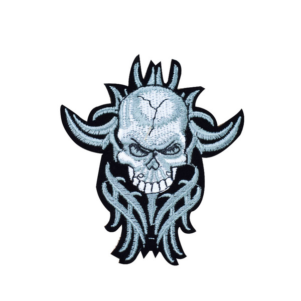 Punk Skull with long Beard Patches for Clothing Iron on Transfer Applique Patch for Jacket Jeans DIY Sew on Embroidered Badge 1pcs