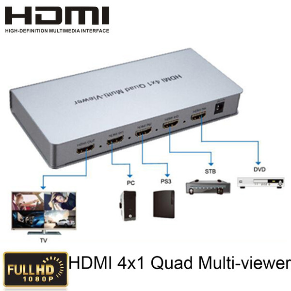 Freeshipping 4x1 HDMI Quad Multi-Viewer Dönüştürücü Ile Sorunsuz Switcher 4 HD dijital video sinyali 1 ekran HDMI1.3a, HDCP1.2, 1080 p