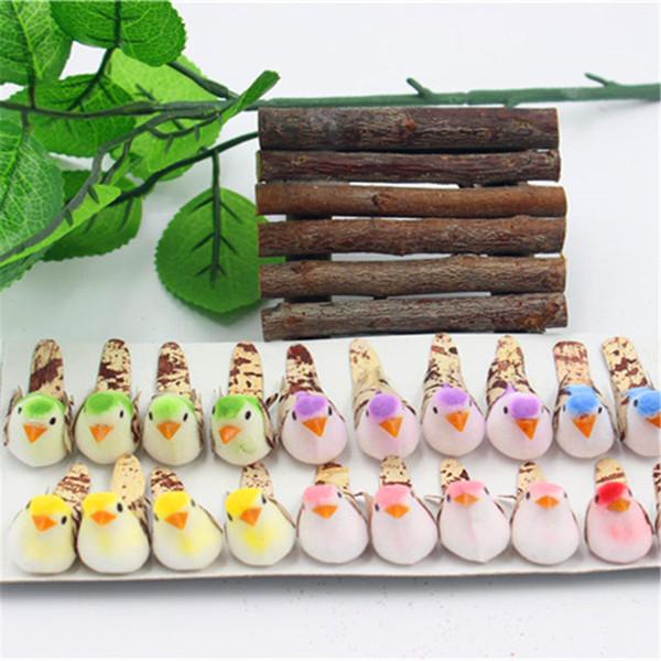 Gros-4 pcs Mousse Mignon Oiseau Handmake Fleur Artificielle Tête De Mariage Décoration Guirlande BRICOLAGE Cadeau Boîte Scrapbooking Artisanat Faux Fleur