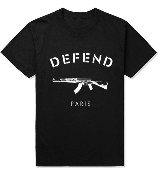 Alisister nuovo 2015 moda uomo / donna t shirt 4 colori 3d stampa Defend Paris AK47 pistola elegante felpe hip hop t-shirt top