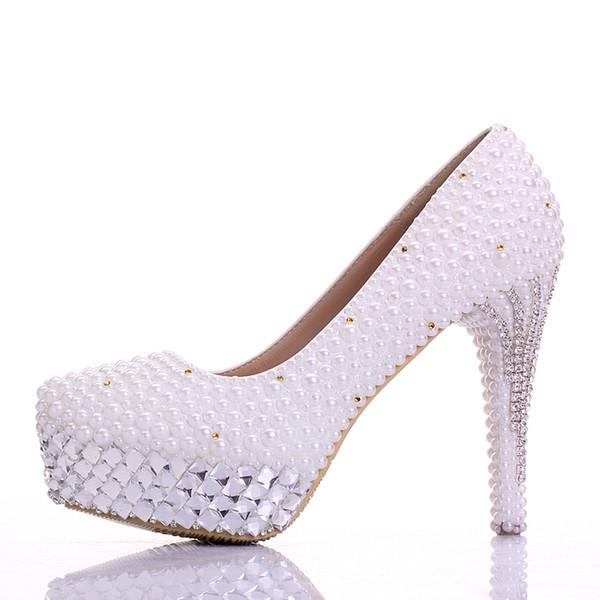 Новые Свадебная обувь White Gorgeous Vogue кристаллы и жемчуг Высокие каблуки свадебное платье принцессы обувь Женщины Пром насосы ручной работы