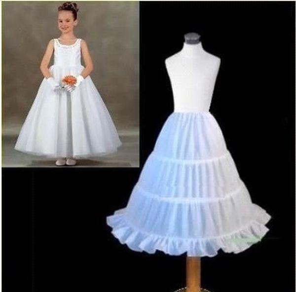 Barato branco saias anáguas saias Underskirt Crinolina 3 Hoop crianças para festa de meninas de flor e casamento crianças vestidos de baile CPA306