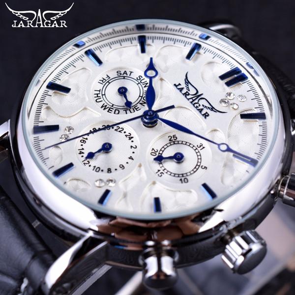 Jaragar Blue Sky Series elegante diseño correa de cuero genuino reloj de pulsera para hombre Relojes para hombre Top marca de lujo reloj de los hombres automático
