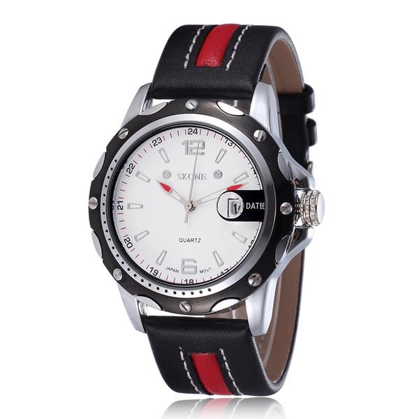 Novos Relógios De Moda Homens Data Calendário Pulseira De Couro Relógios De Quartzo Relógios De Pulso De Luxo Casual Esportes À Prova D 'Água