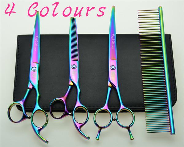 Wholesale- 7'' 19cm Brand Purple Dragon 683BA# Hairdressing Scissors Dogs Cats Cutting Scissors Thinning Shears Pets Hair Scissors Suit
