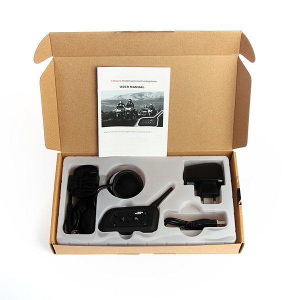 V6 Bluetooth Intercom 1200M Range 6 Riders Casco de motocicleta - Motocicleta Snowmobile Bluetooth Multi Interphone Headset 6 Riders