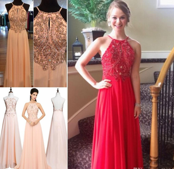 2015 Classic Chiffon Evening Gowns Top Selling Halter Backless Long Prom Dresses For Womens Cheap Formal Party Gowns Crystals Blush Vestidos