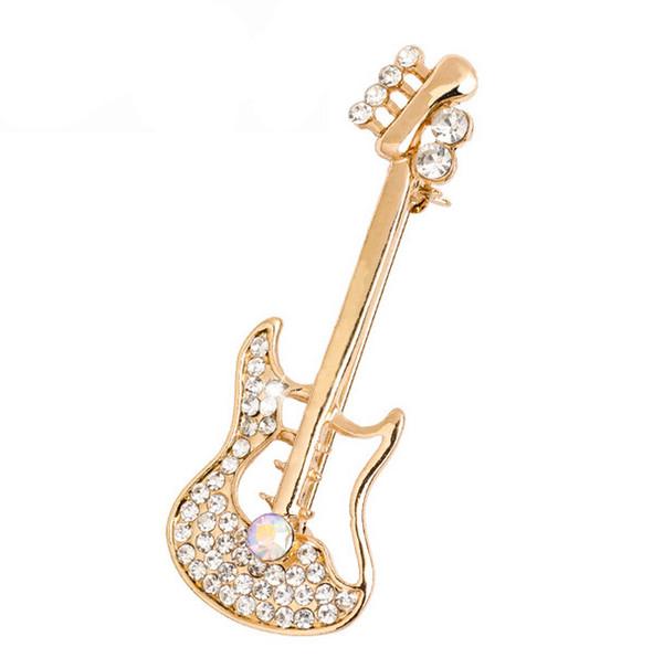 2 Inch Clear Rhinestone Crystal Diamante Guitar Brooch Gold Tone Women Dress Gift Accessory