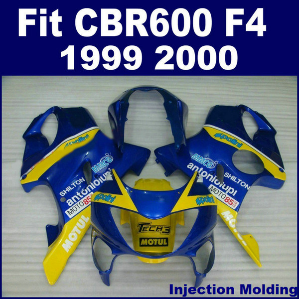 Injection molding parts for HONDA CBR 600 F4 1999 2000 yellow blue full fairing kit 99 00 CBR600 F4 fairing sets GBHU