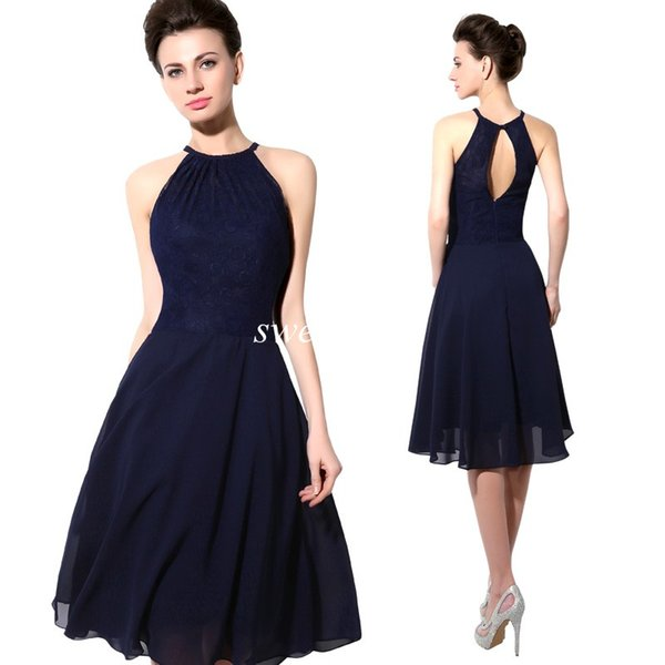 top popular 2019 Cheap Short Party Dresses Navy Blue Lace Halter Open Back A Line Chiffon Knee Length Cocktail Prom Dress Sexy Bridesmaid Dress 2019