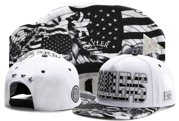 White Black Snapback Hats Popular Basketball Snapbacks Hip Hop Adjustable Caps Men And Woman PROBLEMS Cayler Sons Summer Adult Caps TYMY 266