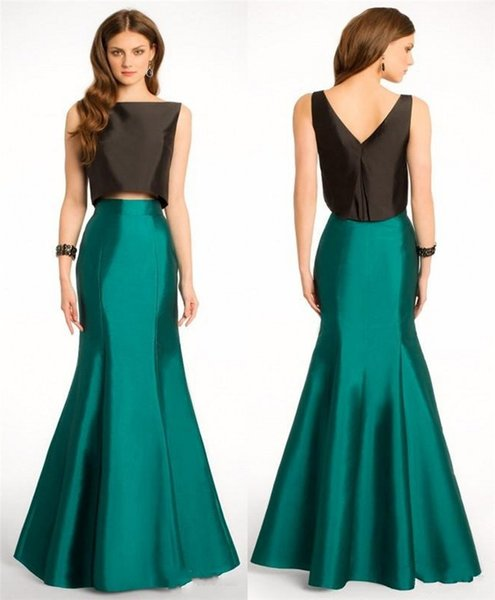 Cheap 2015 Two Pieces Prom Dresses Mermaid Scoop Black Top Green ...