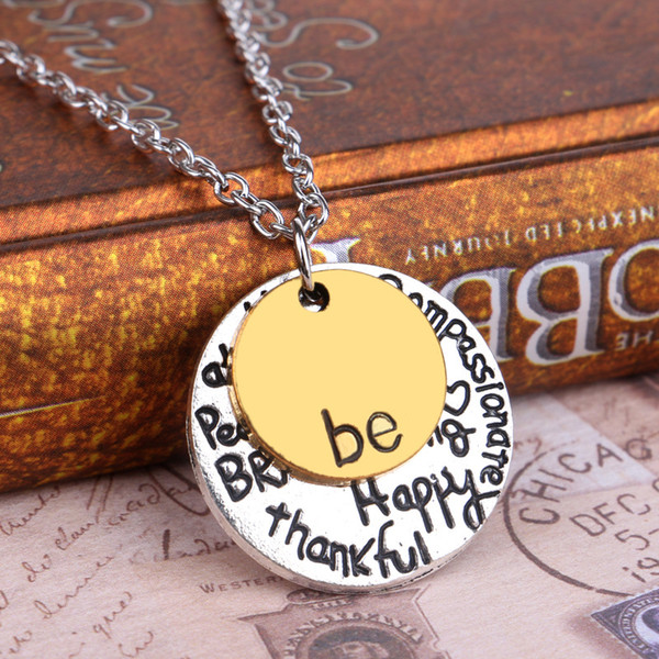 """hot sale cheap Two-Tone """"Be"""" Graffiti Charm Necklace Two PCS Set Circle Pendant Necklaces Jewelry Women For Christmas Gift free shipping"""