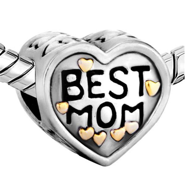 Metal Slider Best Mom Mother Big Hole European Spacer Bead Fit Pandora Chamilia Biagi Charm Bracelet
