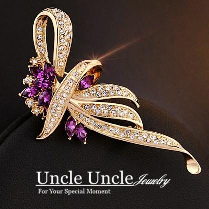 Rose Gold Color Crystal Rhinestone Setting Classic Kaffir Lily Design Flower Lady Brooch (Purple/Blue) Wholesale