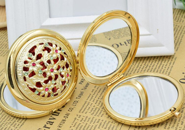 Chic retro vintage gold metal pocket mirror compact co metic retro mirror cry tal tudded portable makeup beauty tool