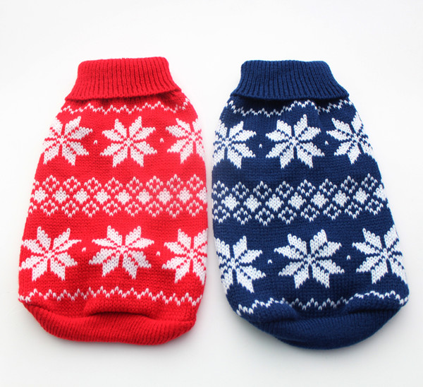 Free Shipping!Red/Blue christmas dog Sweater Snow-Flakes design,pet jumper coat clothes apparel,5 sizes/XS S M L XL5 sizes available