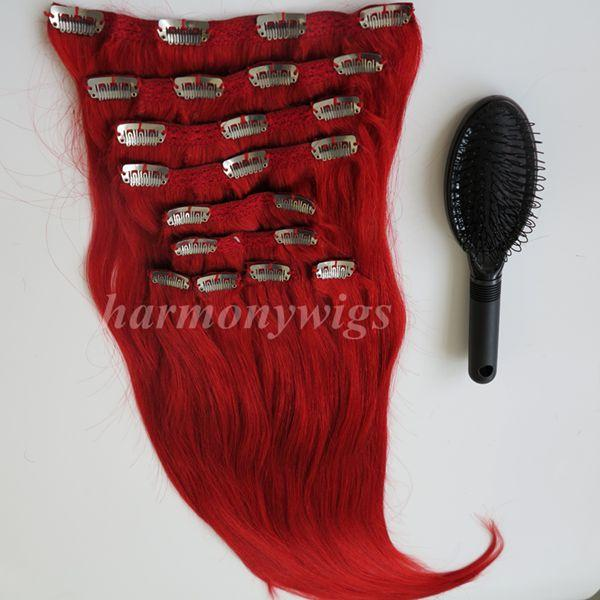 160g 10pcs/1Set Clip in on hair Extension Red color Brazilian Indian Remy human hair 20 22inch