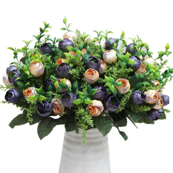 Wholesale-Milk White Rose Buds Bouquet Pearl Bridal Flowers Artificial Peony Silk Flower Weddding Party Decor Flower Arrangement