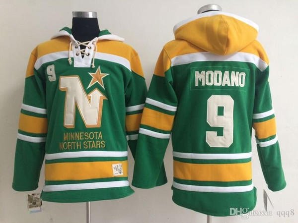 Qualidade máxima ! Minnesota North Estrelas Old Time Hóquei Jerseys 9 Mike Modano Verde Dallas Estrelas Moletom Com Capuz Pullover Camisolas Casaco de Inverno