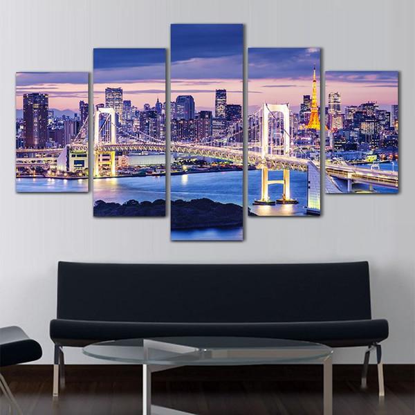 Peinture à l'huile 5 Pcs Tokyo Bay Papier Peint Imprimé Peinture À L'huile Sur Toile Peinture Toile Mur Art Photo