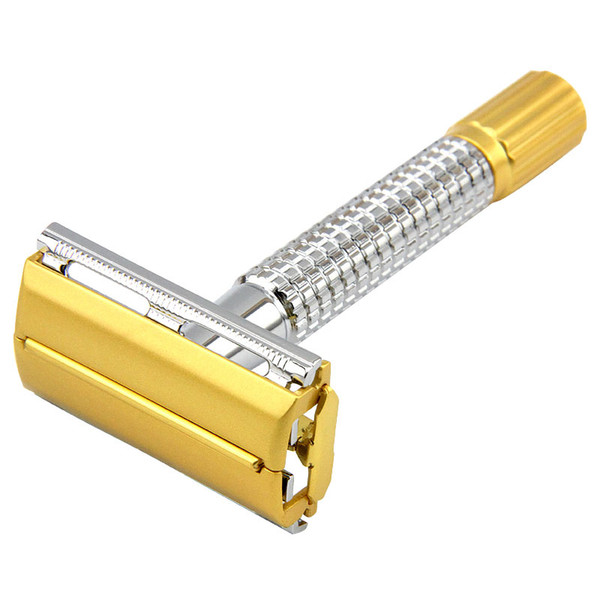 Men Shaver Kit Safety Razor Double Edges Razors Brass Handle Sand Gold Process Shaver Knife With Package