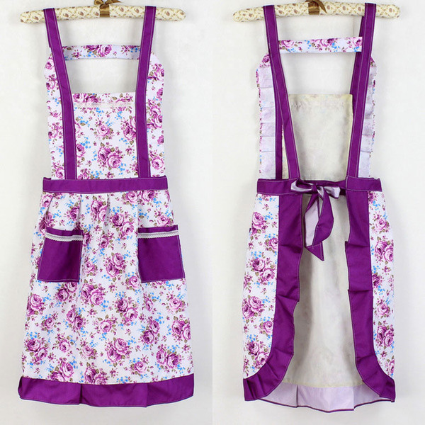 top popular New Fashion Colorful Princess waterproof Apron Kitchen Restaurant Antifouling Apron Floral Style Overalls Pinafore Free Shipping 2020
