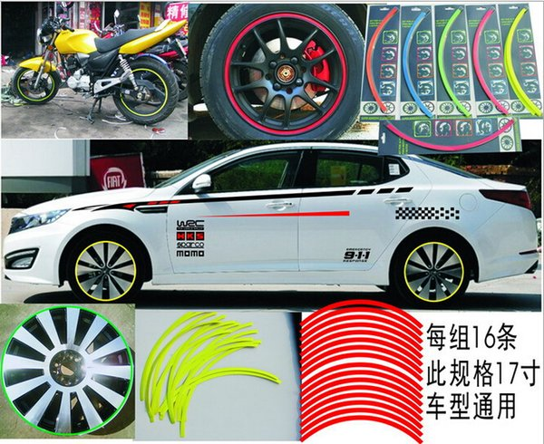 Wholesale car decals stickers car modified rims decoration strip motorcycle reflective wheel rim stickers free