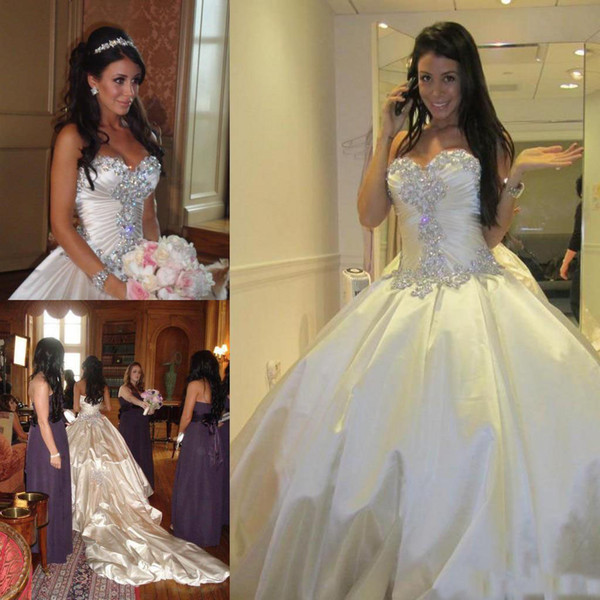 Church Bridal Dresses Ball Gown Sparkly Crystal Beaded Princess Sweetheart Cheap Wedding Gowns Real Pnina Tornai