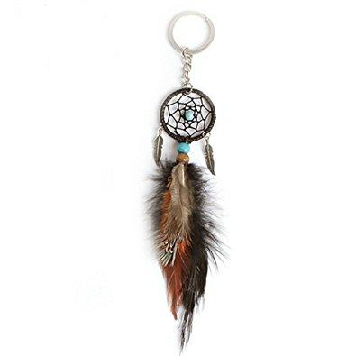 Handmade Dreamcatcher Feather Key Ring Mini Feather Dream Catcher Keychain Bag Hanging Accessories Support FBA Drop Shipping D276Q