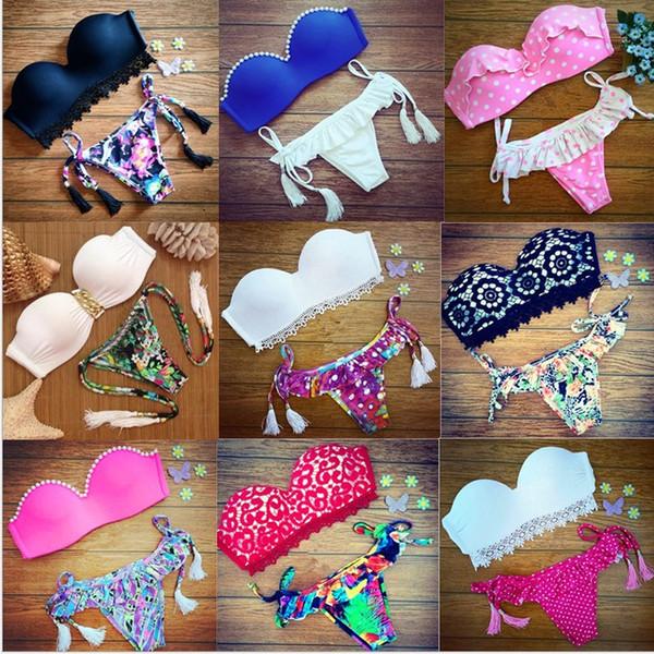 best selling Brazil Bikini 2016 Womens Knit Bikini Set Push up Bandeau Padded Lace Floral Swimsuit Swimwear Wholesale Swimming Clothing K6979