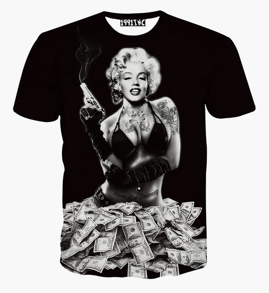 Wholesale-High Quality women/men 3D clothes Novelty Sexy Marilyn Monroe tattoo 3d printed short sleeve t shirt brand tees