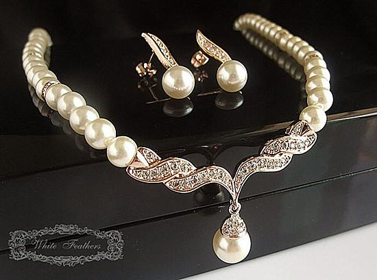 Rose Gold/ Silver Plated Bridal Jewelry Sets Cream Faux Pearl Rhinestone Crystal Diamante Wedding Necklace and Earrings