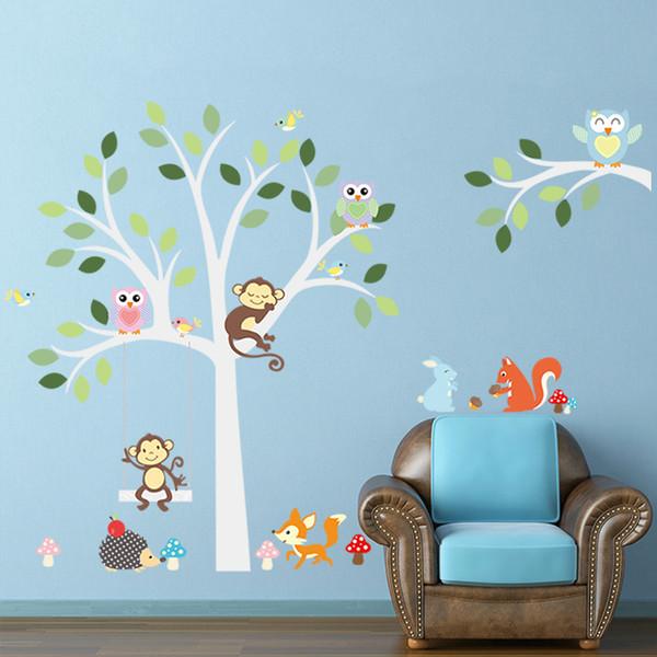 New Monkey Owls Tree Wall Art Mural Decor Kids Room Nursery Wallpaper Decal Sticker Zoos Paradise Wall Applique