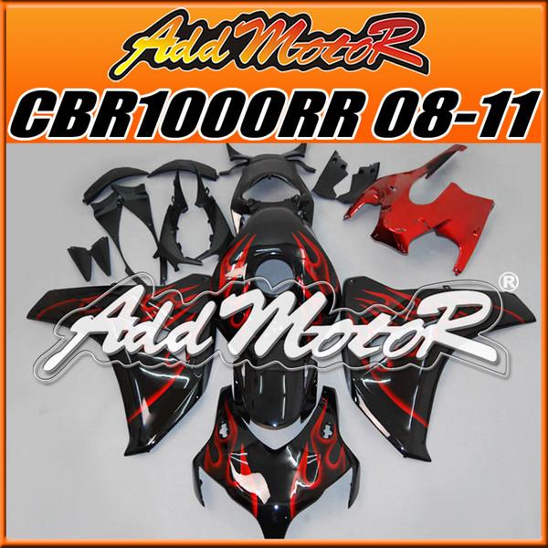 Addmotor Injection Mould Aftermarket Fairings Fit Honda CBR1000RR 2008-2011 CBR 1000RR 08-11 Kit de carrosserie Rouge Flames H1802 Cinq cadeaux gratuits