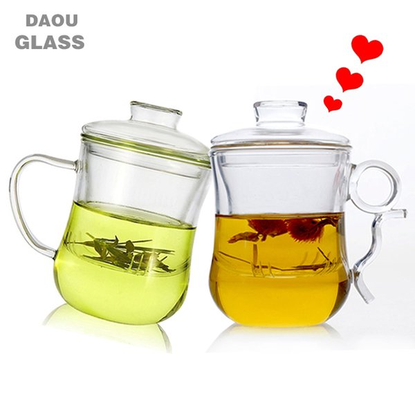 300ml Handmade high quality super transparent heat resistant glass teacup with filter function,Lovers teacup