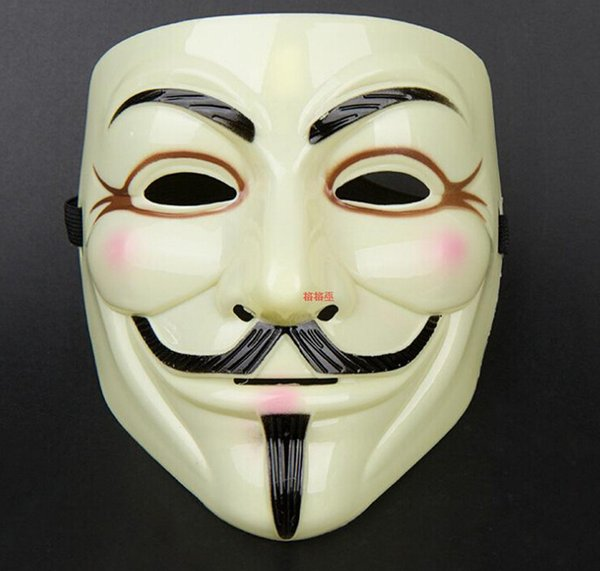 10pcs new arrive V for Vendetta Yellow Mask with Eyeliner Nostril Anonymous Guy Fawkes Fancy Adult Costume Halloween Mask D168