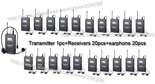 top popular Takstar WTG-500 Wireless Tour Guide System UHF frequency 6 selectable channels 100m operating range 1Transmitter+20 Receivers 2021