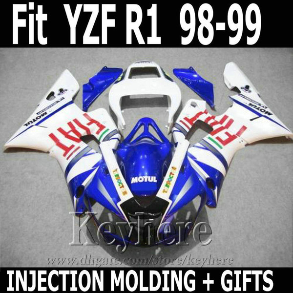 Best quality Injection molding for YAMAHA R1 fairing kit 1998 1999 FIAT blue white YZF R1 fairings 98 99 SD19