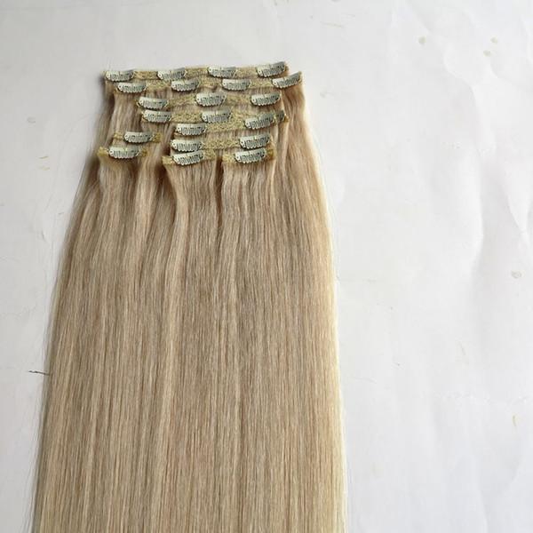 120G 10 adet / 1 takım saç uzantıları Klip 18 20 22 inç 613 # / Ağartıcı Sarışın Düz Remy İnsan saç uzantıları
