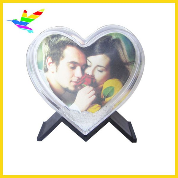 Heart Shape Snow Globe Happy New Valentine's Standing Picture Frame Insert Photo Wholesaler 72pcs/lot Drop Shipping