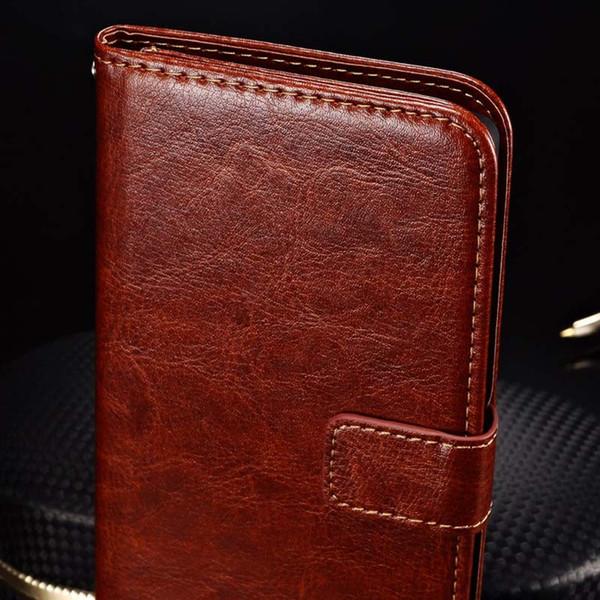 Gros-luxe portefeuille avec titulaire de la carte Stand PU étui en cuir pour OnePlus One Plus sac de téléphone Vintage Cover noir brun