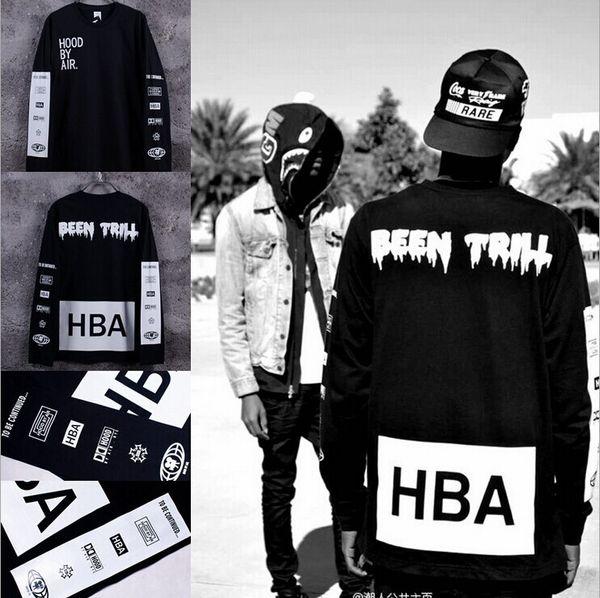 Wholesale-New 2015 Men's Hood By Air Long Sleeve Tee Shirts Man HBA Hip Hop t-shirts Been Trill Printed tshirts Men Camisetas Clothing