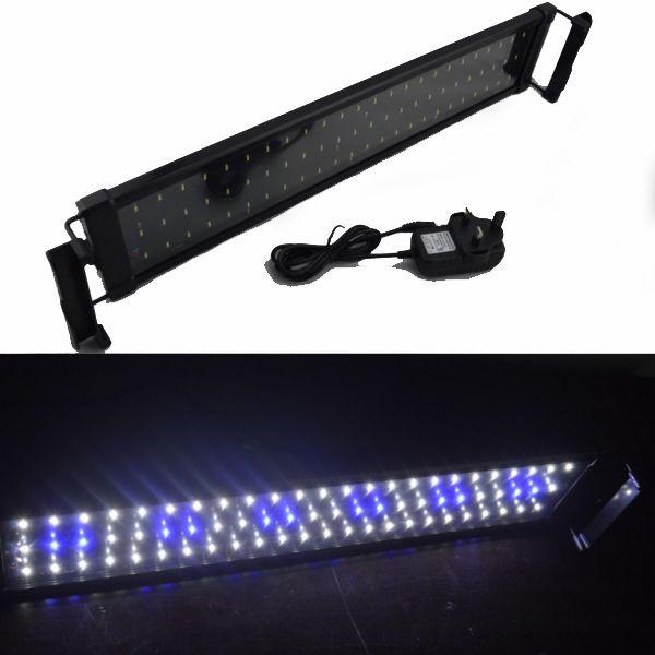 52cm extendido a 70cm 11W 100-240V Plug and Play Blanco + azul LED Luz de acuario para tanque FishReef con fuente de alimentación