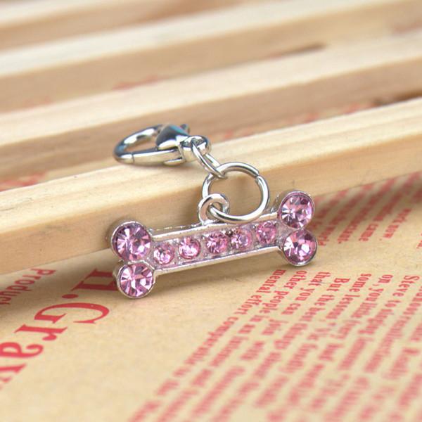 4 Color Bone Shape Pet Safety Tag ID With Czech Diamond Luxury Hotsale Fit Pet Collar&Necklace Cheap Key Charms Wholesale 20PCS/LOT