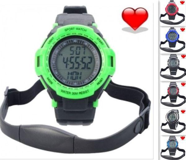 Al por mayor-Chest Correa Heart Rate Monitor Calorías Podómetro pulso digital Deportes reloj LCD Exercise Memory Mode reloj de agua al aire libre reloj