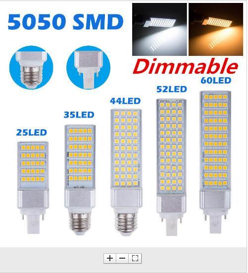 E27 G24 G23 Spina orizzontale LED Lampadina a mais SMD5050 Lampada a LED 5W 7W 11W 13W 15W 64 LED Illuminazione a LED