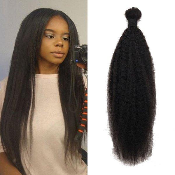 Kinky Straight Bulk Hair No Attachment Natural Color 100% Indian Human Hair Bulk for Black Women FDshine