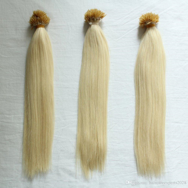 GradLength 14''--26''// Grade 8A Nano Rings Human Hair Extensions 100g/pack 1g/s 200s/lot Blonde color 613# I tip in Hair, free DHL